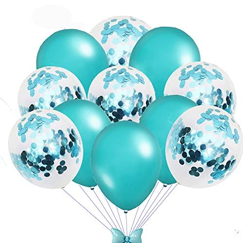 Palloncini per decorazioni per matrimoni, palloncini con coriandoli, palloncini in lattice, 50 decorazioni per palloncini balloon (blu)