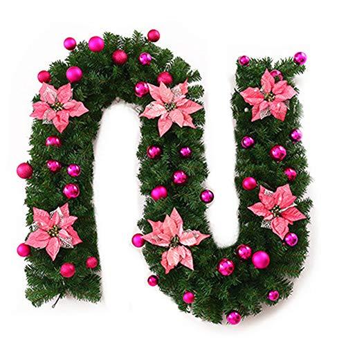 AAGOOD Die Zweige des Kiefer Weihnachtsbaum Rattan-künstliche Blumen-Girlanden Künstliche Weihnachtskranz Christbaumschmuck Dekoration (pink)