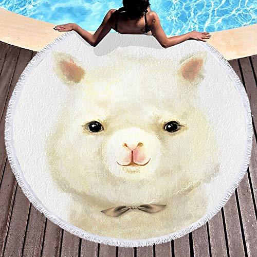 Frantlo 1 Packung Cartoon Schöne Tier Runde Strandtücher, Ultra-Soft-Wasseraufnahme für Reisen, Spa, Yoga, Picknick (59x59inch)-C
