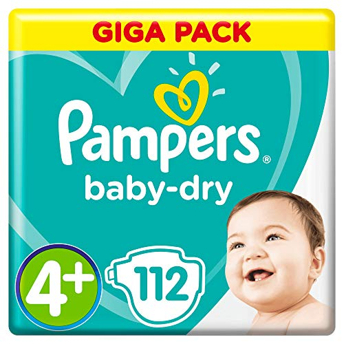 Pampers Baby Dry taille 4+, 9–18kg, Mega Plus Pack, 112pièces