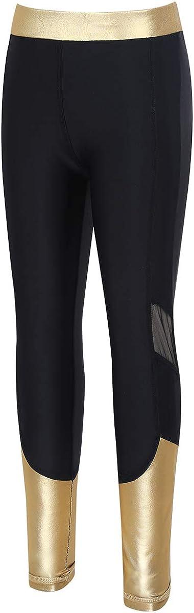 ranrann Kids Girls Elastic Waist Tights Leggings Metallic Mesh Splice Sport Pants Trousers Running Yoga Daily Wear