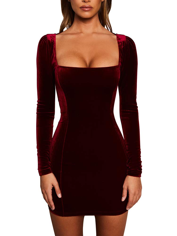 Party Dresses - Womens Sexy Velvet Long Sleeve Bodycon Elegant Mini Party Dress
