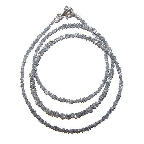 Diamant Kette zarte Kette mit kleinen Rohdiamanten in grau 16 Carat mit 925 er silber Karabiner Verschluss.(4211)