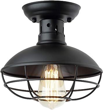 ZZ Joakoah Industrial Vintage Rustic Semi Flush Mount Ceiling Light, Metal Cage Pendant Lighting Lamp Fixture for Hallway Sta