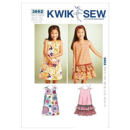 Kwik Sew Patroon K3862 4-5 / maat XS klein 6/medium 7-8/L 10/XL 12-14 A-Line jurk, wit, 1 stuk