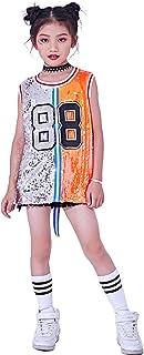 Traje de Lentejuelas para niñas Hip Hop Jazz Dancewear Sparkle Vestido sin Mangas sin Mangas