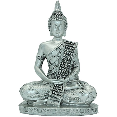 7.28'(H) Silver Thai Buddha Meditating Peace Harmony Statue Resin Craft Home Decor BS112