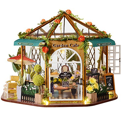 Fsolis DIY Dollhouse Miniature Kit with Furniture, 3D Wooden Miniature House with Dust Cover, Miniature Dolls House kit Creative Gift GD01