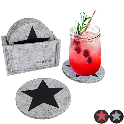 WOLFAS Filzuntersetzer Rund - Untersetzer 8er Set mit Box - Premium Filz Glasuntersetzer mit Stern - für Getränke - modern grau - Becher Gläser Weihnachten Deko (hellgrau - Stern schwarz)