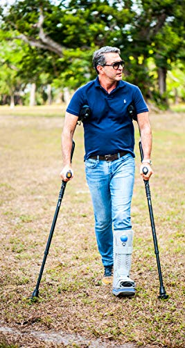 Ergobaum Dual(5' to 6'6'') Ergonomic Underarm Crutches (1 Pair) of Double-Function Shock Absorber Underarm Crutches with Arm Support (Black)