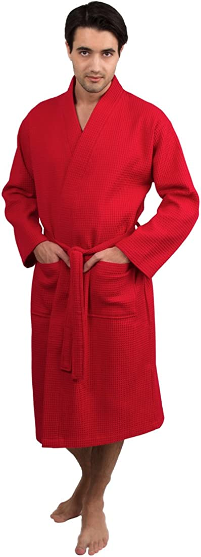 TowelSelections Men's Waffle Weave Robe Cotton Spa Bathrobe Made in Turkey