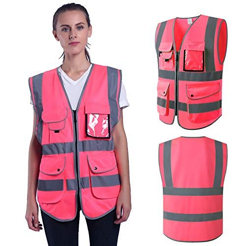 Pink Safety Vest Small for Women Lady Hi Vis Vest With Zipper Multi Pockets Safety Vest With Reflective Strips Meets ANSI/ISEA (Small, Pink)