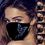 HTDBKDBK 5PC Womens Outdoor Face Cloth Butterfly Printing Reusable Washable Black Face_Mask