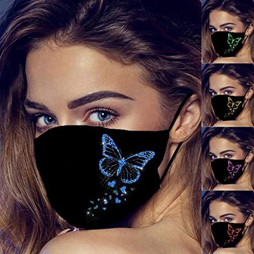 lHAZA 5 Stück Damen Schmetterling Muster Gedruckt Gesichtsschutz Mundschutz...