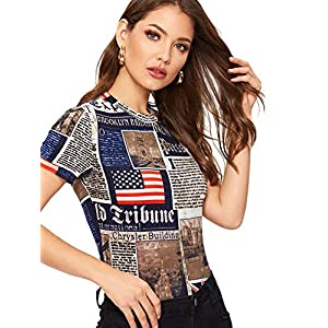 Women's Newspaper Graphic Letter Print Slim Fit Casual Tee Top