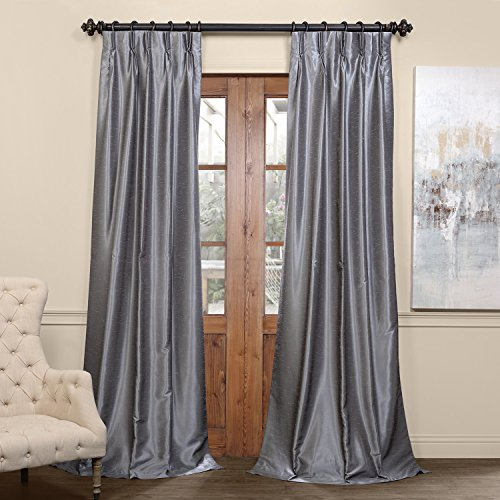 HPD Half Price Drapes PDCH-KBS7BO-84-FP Blackout Vintage Textured Faux Dupioni Pleated Curtain (1 Panel), 25 X 84, Storm Grey