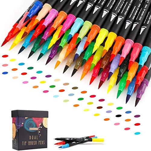 72 colori pennarelli a doppia punta a pennello da 0,4 mm con punta fine e pennello per acquerello,per libri da colorare, disegno, pittura, calligrafia Bullet Journal GC-72B