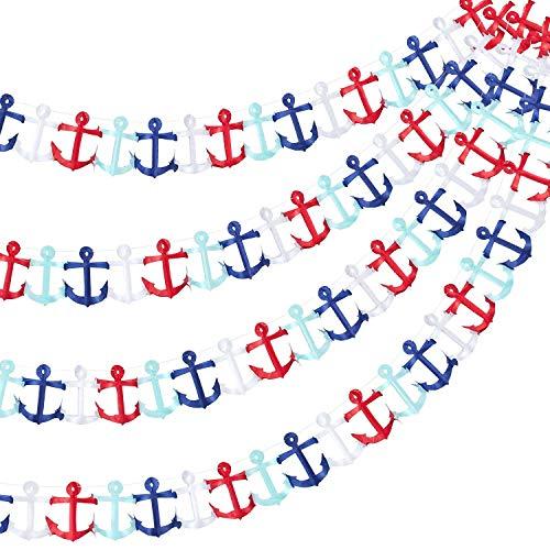 AMAZING1 - Guirnalda náutica con ancla para fiesta náutica, decoración de fiesta