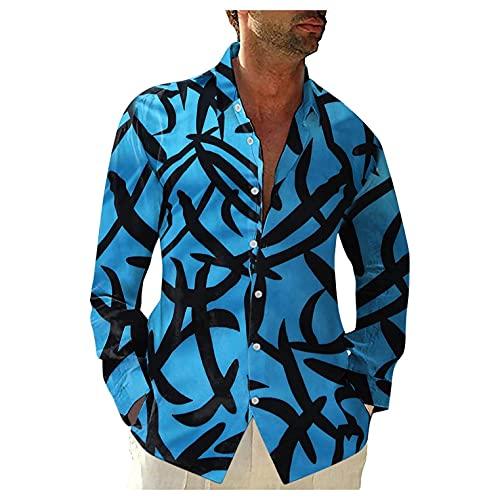 Yiartion Herren Hemden Fashion Hawaii Bedrucktes Langarmhemd Langarmshirts Loose Freizeithemden Revers Strickjacke Langärmelige Hemd Lange Shirt Dünne Arbeitshemd Atmungsaktiv Sommerhemd