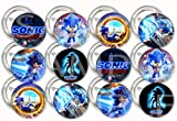 """Sonic 2020 Movie Buttons The Hedgehog Video Game Party Favors Supplies Decorations Collectible Metal Pinback Buttons, Large 2.25"""" -12 pcs"""