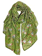 """Size: 33.4""""Wx70.9""""L(85CMx180CM). Holiday Green Scarf Gift for your daughter, girls, young ladies; Material: voile, lightweight thin cotton fabric, softness and comfort; Feature: Vivid Birds and Blooming Florals Scarf; Exquisite Brand Bag Packaging; C..."""