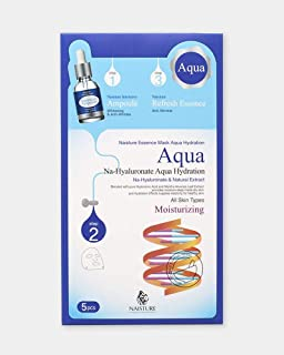 Naisture Aqua Face Mask Pack (5 Sheets), 3 Step Full Facial Treatment with Hyaluronic Acid for Dry Skin - Moisturizing Essence
