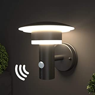 NBHANYUAN Lighting LED Outdoor Wall Light Fixtures with PIR Sensor Exterior Wall Sconce Black Stainless Steel Weatherproof 3000K Warm Light Front Door Porch Light 110V 1000LM [Energy Class A+]