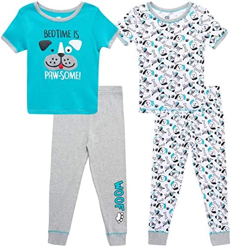 Only Boys Baby Boys Pajama Set 4 Piece Snug Fit Short Sleeve T Shirt and Jogger Sweatpants Infant product image