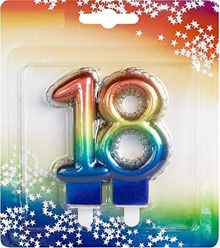 Candela con numero, numero 18, in arcobaleno con piedistallo, dimensioni: circa 9 cm x 5,5 cm, colori arcobaleno, decorazione per compleanno, candela di compleanno