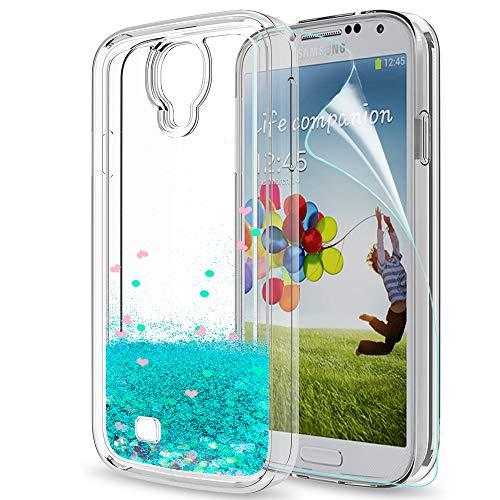 LeYi Hülle Samsung Galaxy S4 Glitzer Handyhülle mit HD Folie Schutzfolie,Cover TPU Bumper Silikon Flüssigkeit Treibsand Clear Schutzhülle für Case Samsung Galaxy S4 Handy Hüllen ZX Turquoise