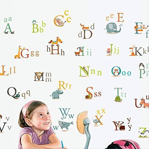 Cartoon Kinderen Muurstickers Leuke Baby Hoogte Stickers Kleuterschool Verlichting Puzzel Stickers Engels Alfabet Vroeg Onderwijs Stickers