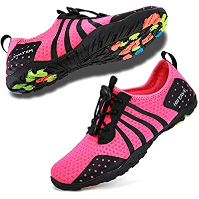 hiitave Womens Aqua Beach Water Shoes Quick Dry Barefoot Swim Socks for Surf Pool River Walking Diving Water Sports Fushia W8-8.5/M7