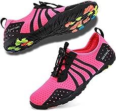 HIITAVE Womens Aqua Beach Water Shoes Quick Dry Barefoot Swim Socks for Surf Pool River Walking Diving Water Sports Fushia W9/M8