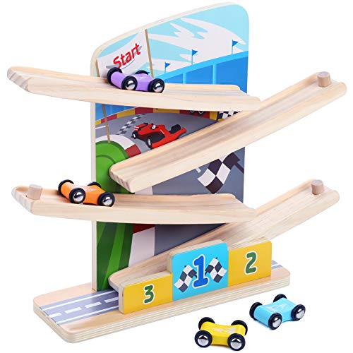 Migargle Wooden Ramp Racer, Race Track Toy Vehicle Set with 4 Wooden Cars and 4 Car Garage, Montessori Toys Craft Gift for Toddlers Boys and Girls