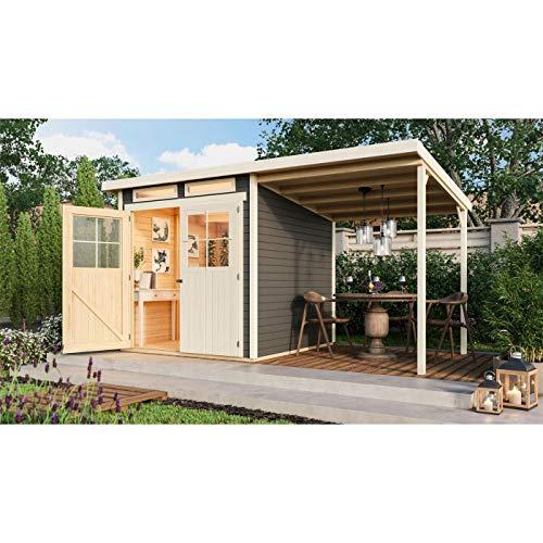Röhrs Edition – Caseta de jardín Ottersberg 3, color terracota, juego con tejado, suelo y lámina de techo, de madera de abeto, 213 x 217 cm, 19 mm de grosor, diseño clásico con techo