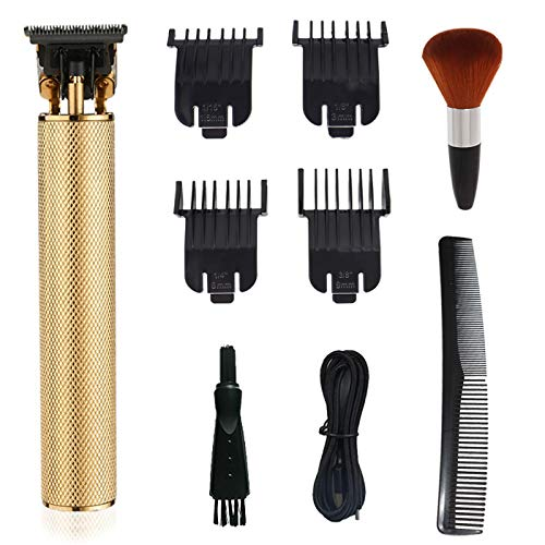 Hair Clippers for Men,Hair Trimmer with Neck Duster Brush,0mm Baldheaded Rechargeable Cordless Quiet Barber Accessories (Gold)
