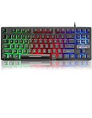 K16 Bedraad 87-toetsen gamingtoetsenbord Mechanisch gevoel Regenboog LED-achtergrondverlichting Waterdicht Ergonomisch 16-toetsen Anti-ghosting PC-gamingtoetsenbord voor pc, kantoor, spelletjes spelen