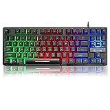 LexonElec K16 Wired 87keys Gaming Keyboard Mechanical Feeling Rainbow LED Backlit Waterproof Ergonomic
