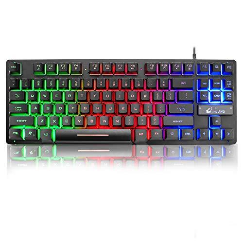 LexonElec K16 Wired 87-Tasten-Gaming-Tastatur Regenbogen-LED-Licht mit Hintergrundbeleuchtung Wasserdicht Ergonomische USB-16-Tasten Anti-Ghosting-Gaming-Tastatur für Büro, Schreibkräfte und Spiele