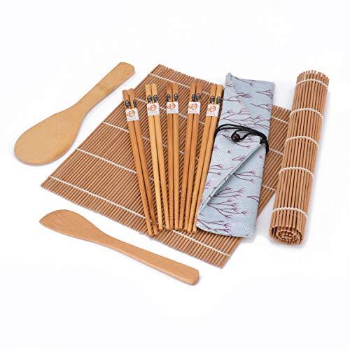 OUNONA Kit de fabrication de sushi en bambou 15pcs, 2 tapis de sushi, 1 écarteur de palette de riz, 5 paires de baguettes