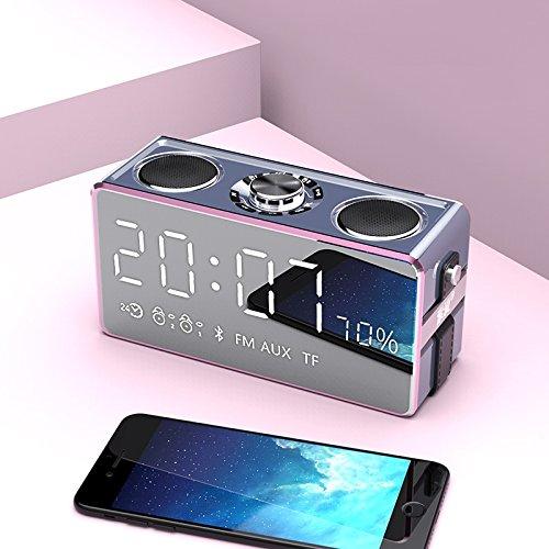 Vinteen Bluetooth Lautsprecher Übergewicht Bass Gun Wireless Mini Handy Onboard Kleine Sound Familie Verwendung Wecker Outdoor Lautsprecher Coral Grey/Rose Gold/Champagner Gold (Color : Pink)
