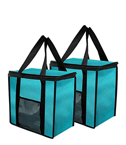 Insulated Grocery Bag Extra Large Reusable Heavy Duty Nylon with Mesh Pocket for Hot or Cold Food Double Zipper Closure for Picnics Grocery Food Delivery Stands Upright Collapsible (Pack of 2) (Teal)