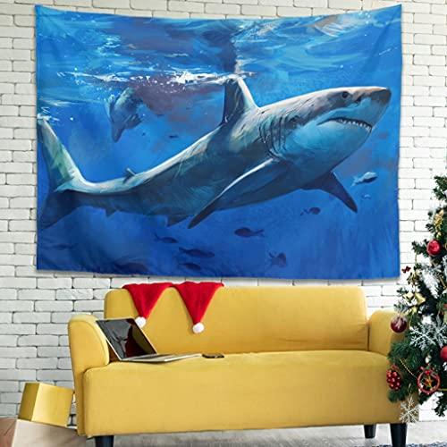 Wandlovers Tapiz de pared con tiburón marino profundo, decoración abstracta, color blanco, 100 x 150 cm