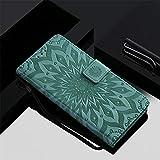 Qiaogle Teléfono Case para Motorola Moto G2 / Moto G+1 - Sun Flower Embossing Funda de PU Cuero Billetera Clamshell Carcasa Cover (Verde)