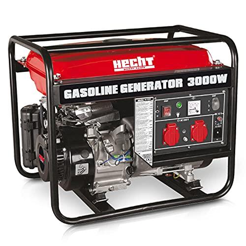 Hecht Stromaggregat mit 3000W max. Leistung - Generator für Camping, Baustelle, Gartenhaus - 2x 230 V-Steckdosen - 4-Takt Motor - Überlastungsschalter - großer 15 L Tank für langen Einsatz