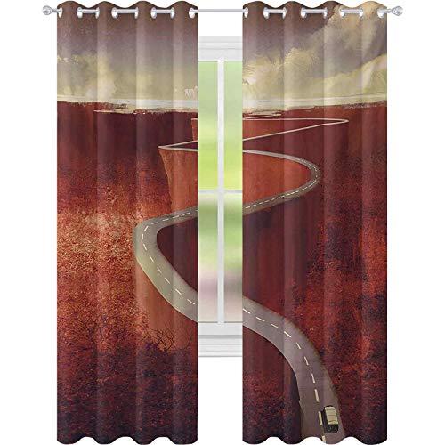 Cortinas de tratamiento para ventanas, absurdo escénico camino con camión curva de bobinado extremo sobre acantilados, 52 x 63 cortinas para sala de estar, dormitorio, color naranja oscuro crema