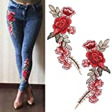 PULABO 1 Pair DIY Rose Flower Embroidered...