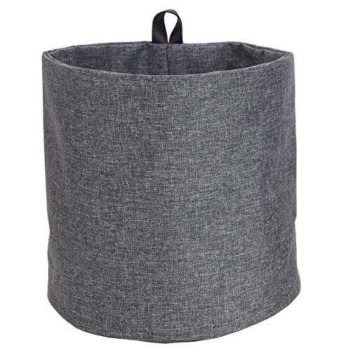 Bigso Box of Schweden Hängekorb groß – runder Wandkorb mit Schlaufe und in Leinenoptik – Aufbewahrungsbox zum Aufhängen oder Hinstellen aus Polyester und Karton – grau