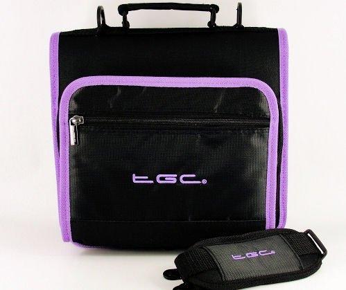 Nieuwe schoudertas voor de Philips PET1002 draagbare DVD-speler van TGC ®, Jet Zwart w/Elektrische Paarse Trim