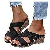 Aniywn Women's Comfortable Open Toe Crisscross Straps Slip on Wedge Sandals Flower Wedge Slippers Casual Beach Shoes Black